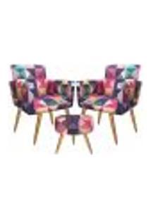 Conjunto 2 Poltronas Decorativas E Puff Redondo Triângulos - Bela Casa Shop