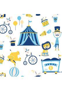 Papel De Parede Infantil Circo Branco E Azul (950X52)
