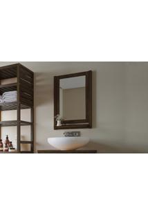 Espelheira Em Madeira Para Banheiro Aquiles - Espelho Para Lavabo Cor Nogueira - 46X11X67Cm