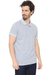 Camisa Polo Colombo Reta Listrada Azul/Cinza