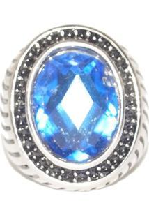 Anel Pedra Resinada Azul Em Inox- Sir.W - Kanui