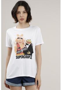 Blusa Feminina Os Muppets Manga Curta Decote Redondo Branca