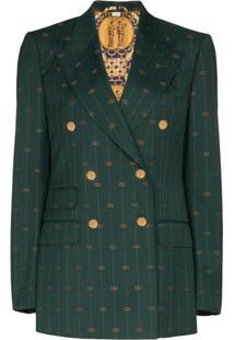 Gucci Gg Print Double-Breasted Blazer - Verde