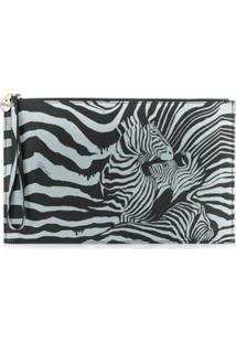 Just Cavalli Zebra Print Clutch Bag - Preto