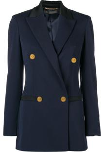 Versace Blazer Com Abotoamento Duplo - Azul