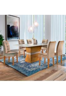Conjunto De Mesa De Jantar Jade Com Vidro E 6 Cadeiras Villa Rica Ll Suede Off White E Bege