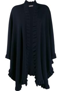 N.Peal Frill Trimmed Cape - Azul