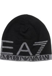 Ea7 Emporio Armani Gorro De Tricô Com Logo - Preto