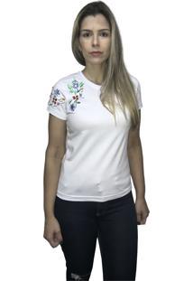 Camiseta Hifen Bordada Em Floral Branca