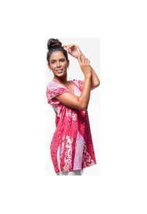 Blusa 101 Resort Wear Saida De Praia Estampada Crepe Decote V Grafismo Cereja