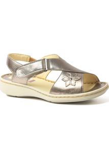 Sandália Couro 293 Metalic Doctor Shoes Feminina - Feminino-Cinza