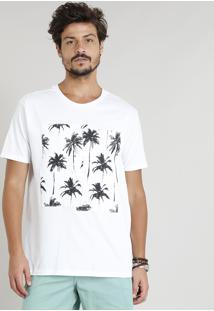 Camiseta Masculina Com Recorte De Coqueiros Manga Curta Gola Careca Branca