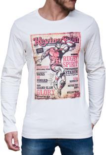 Camiseta Kevingston Divertida Off White Estampada Manga Longa