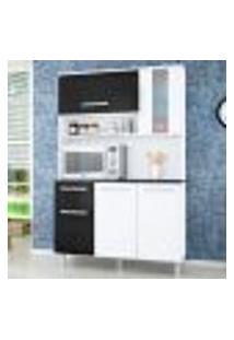 Cozinha Compacta Polo 5 Pt E 1 Gaveta Branco E Preto