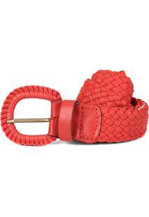 Cinto Couro Shoestock Tressê Feminino - Feminino-Vermelho
