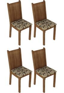 Kit 4 Cadeiras Rustic Floral Bege Madesa4290