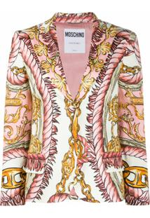 Moschino Graphic-Print Single-Breasted Blazer - Rosa