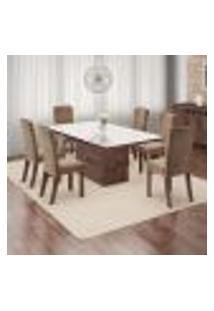 Conjunto De Mesa De Jantar Isabela Com 6 Cadeiras Luiza Linho Álamo E Bege