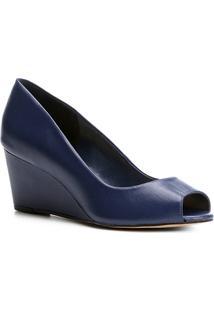 Peep Toe Couro Shoestock Anabela - Feminino-Marinho
