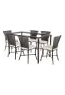 Jogo De Jantar 6 Cadeiras Turquia Tabaco A34 E 1 Mesa Retangular Sem Tampo Ideal Para Área Externa Coberta