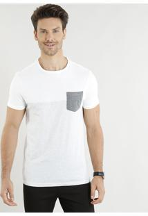 Camiseta Masculina Slim Fit Com Recorte E Bolso Manga Curta Gola Careca Off White