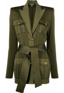 Balmain Blazer Com Lapelas E Amarração Na Cintura - Verde