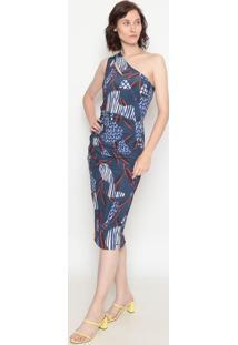 Vestido Ombro Único Com Recortes- Azul Escuro & Branco