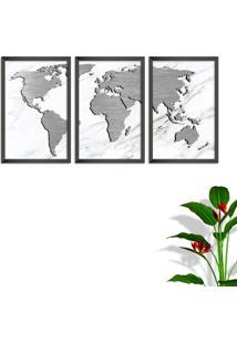 Quadro 60X120Cm Mapa Mundi Cinza Moldura Sem Vidro Fundo Branco Altas Países Decorativo Interiores - Oppen House