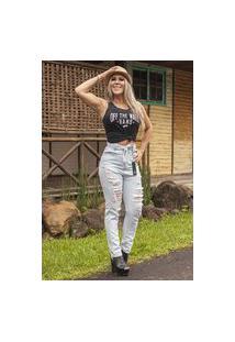 Calça Jeans Donna Dyony Mom Eventual Com Cinto