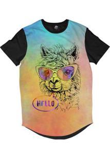 Camiseta Longline Bsc Animais Hipster Lhama Sublimada - Masculino-Rosa