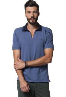 Polo Diezo Em Piquet Com Fendas Azul & Azul Marinho