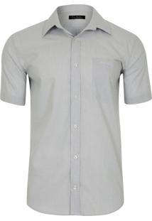 Camisa Social Maga Curta Classic Gelo