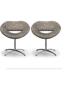 Kit 2 Cadeiras Beijo Colmeia Marrom Poltrona Decorativa Com Base Giratória