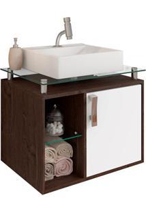 Gabinete Suspenso Para Banheiro Porto 57,2X60,2Cm Branco E Café