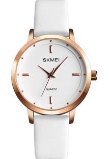 Relógio Skmei Analógico 1457 - Branco E Rosê