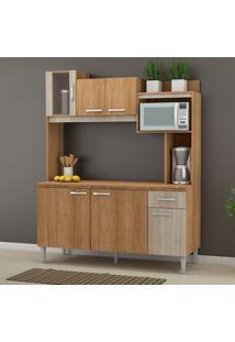 Cozinha Compacta Com Tampo 6 Portas Angel – Fellicci - Carvalho / Blanche