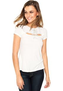 Regata Carmim Manga Curta Tee Decote Flower Off-White
