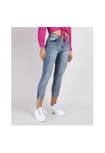Calça Jeans Feminina Cropped Cintura Média Destroyed Com Barra Dobrada Azul Médio