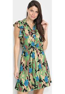 Vestido Pérola Curto Camuflado Com Botões - Feminino-Azul