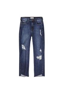 Calça Hering Em Jeans De Algodão Destroyed Azul