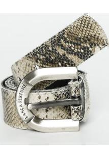 Cinto Snake Com Fivela- Off White & Bege- 3,5X110Cm