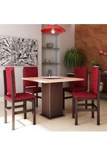Conjunto De Mesa Com 4 Cadeiras Priscila Tabaco E Vermelho