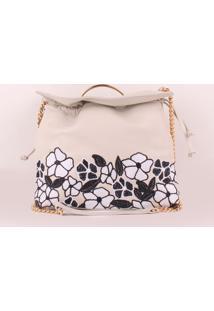 Bolsa Em Couro Floral- Off White & Pretaluiza Barcelos