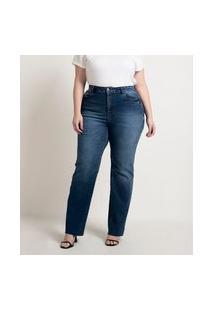 Calça Reta Jeans Com Corte A Fio Na Barra Curve & Plus Size | Ashua Curve E Plus Size | Azul | 54