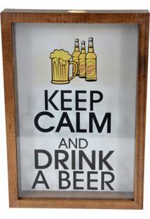 Quadro Prolab Gift Porta Tampas E/Ou Lacres Drink A Beer Tabaco - Amarelo/Branco/Marrom/Preto - Dafiti