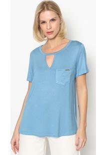 Blusa Com Bolso & Vazado - Azul Claro - Lanã§A Perfumlanã§A Perfume