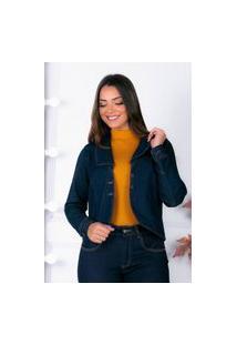Blazer Almaria Plus Size Shyros Liso Botões Forrados Jeans Azul