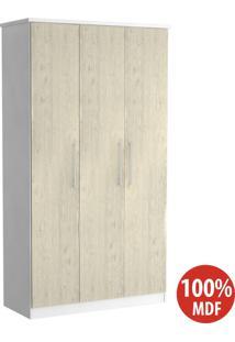 Guarda Roupa 3 Portas 100% Mdf 973 Branco/Marfim Areia - Foscarini