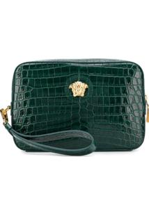Versace Medusa Appliqué Leather Pouch - Verde