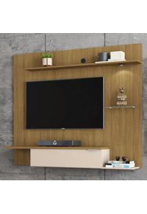 Painel Para Tv Até 55 Polegadas 1 Porta 4 Prateleiras Ubatuba 2075223 Cinamomo/Off White - Bechara Móveis